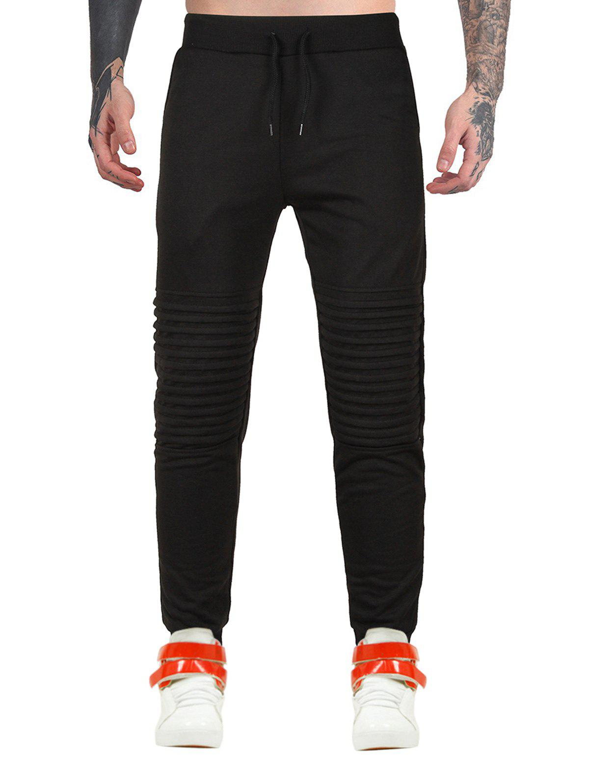 Sports Drawstring Moto Jogger Pants - BLACK L