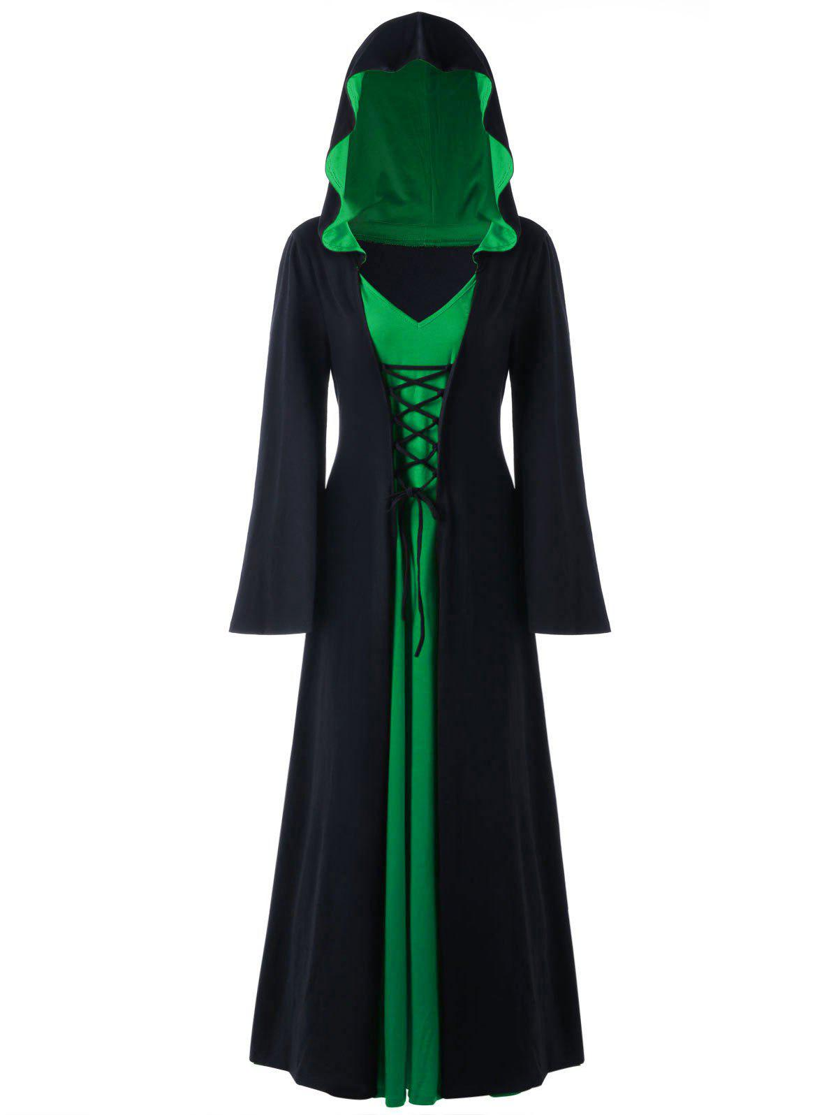 Plus Size Hooded Lace Up Maxi Dress - BLACK/GREEN XL