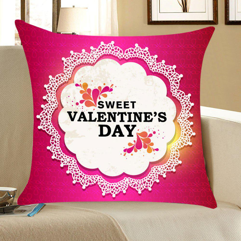 Valentine's Day Flowers Printed Throw Pillow Case - PINK/WHITE W18 INCH * L18 INCH