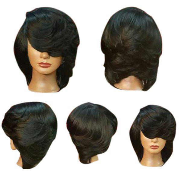 Short Oblique Bang Straight Flip Feathered Bob Synthetic Wig - BLACK