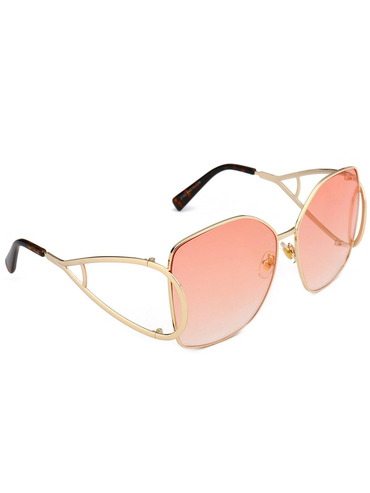 Vintage Hollow Out Decorated Full Frame Oversized Sunglasses - LIGHT PINK