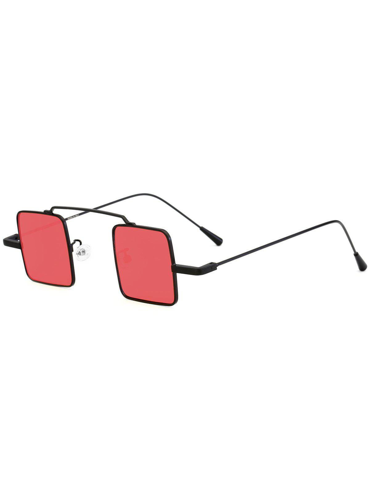 UV Protection Full Frame Squared Sunglasses - BLACK FRAME/RED LENS