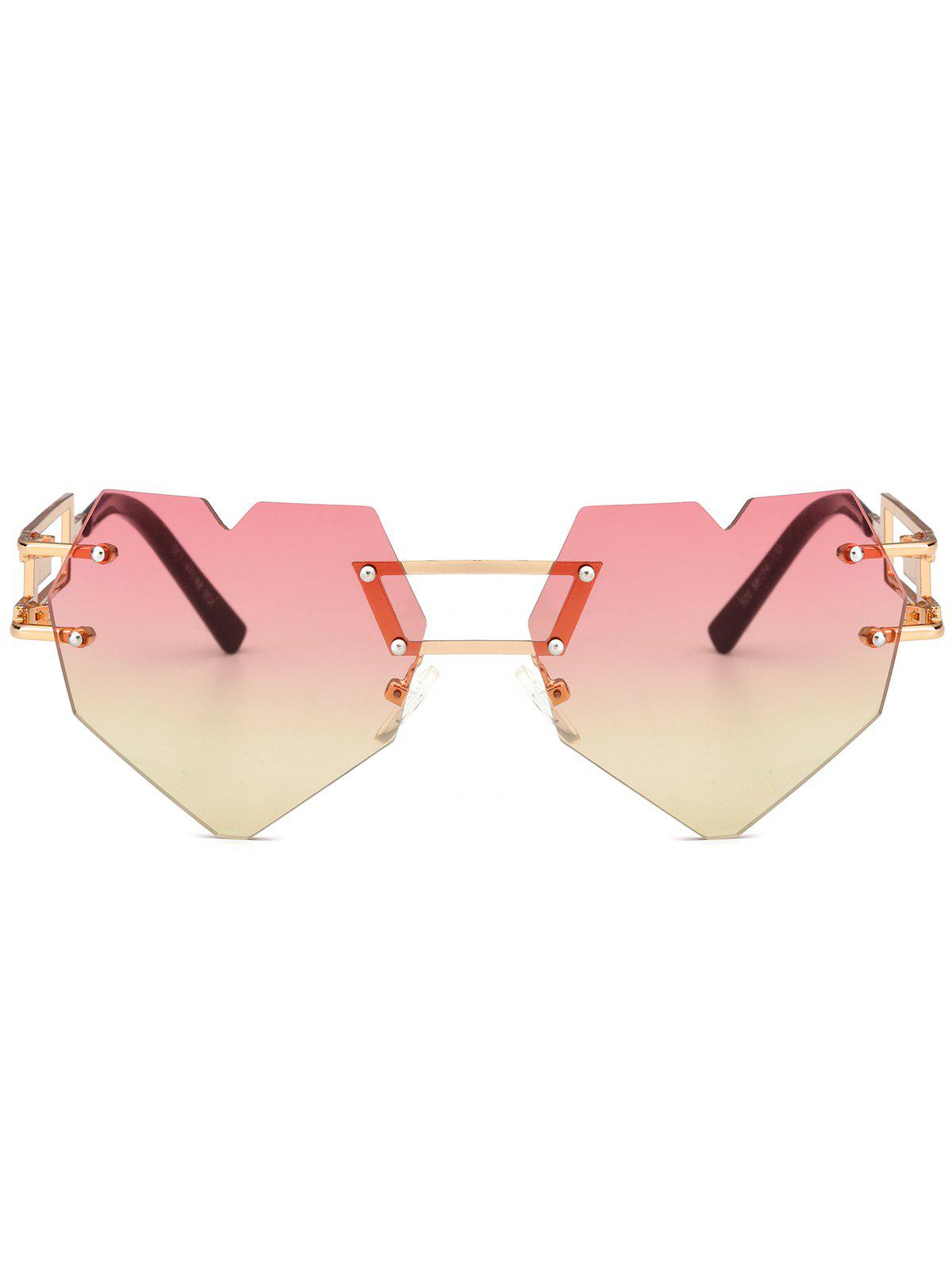 Outdoor Love Heart Decorated Hollow Frame Rimless Sunglasses - YELLOW/RED
