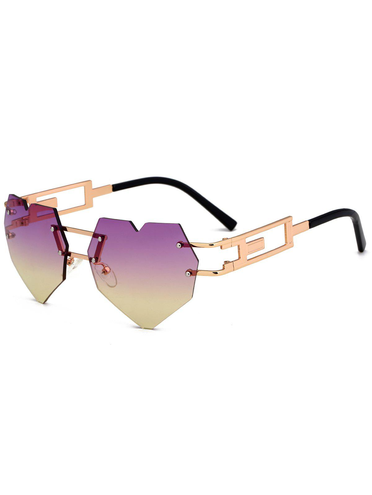 Outdoor Love Heart Decorated Hollow Frame Rimless Sunglasses - PURPLE/YELLOW C