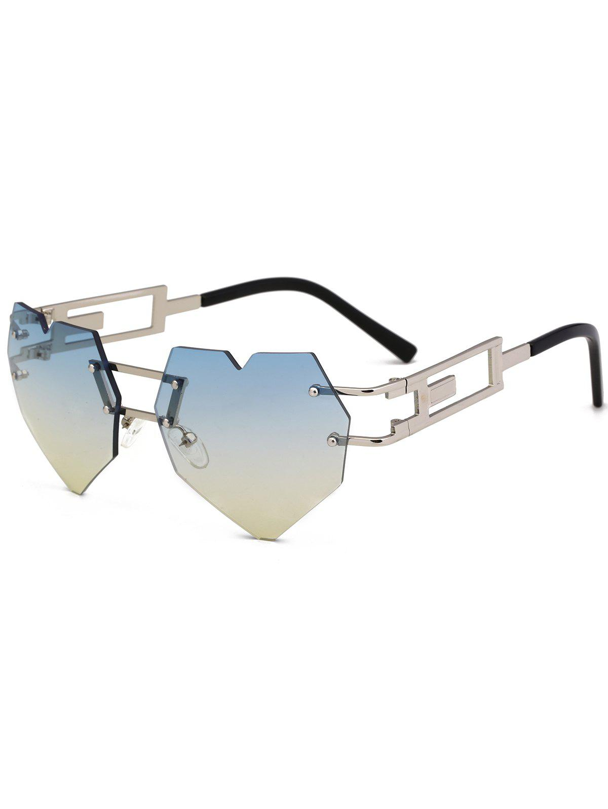 Outdoor Love Heart Decorated Hollow Frame Rimless Sunglasses - LIGHT BLUE