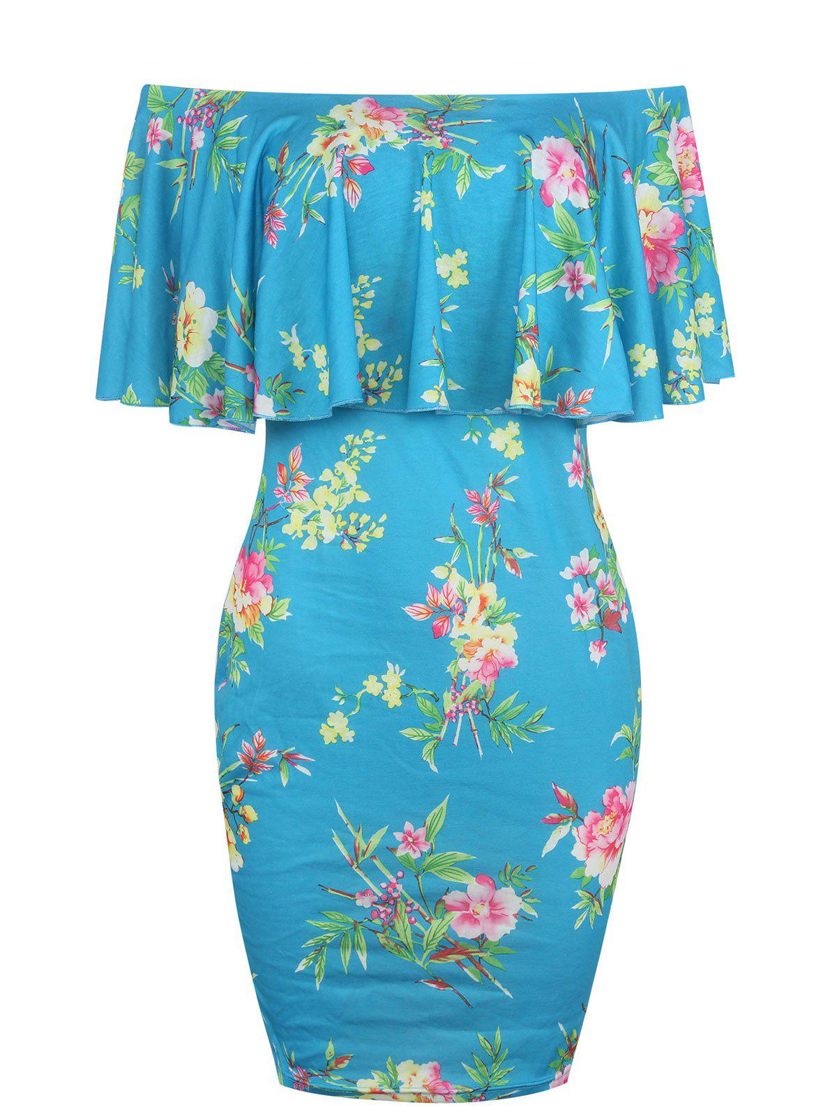 Floral Print Off The Shoulder Bodycon Dress off the shoulder floral print bodycon dress