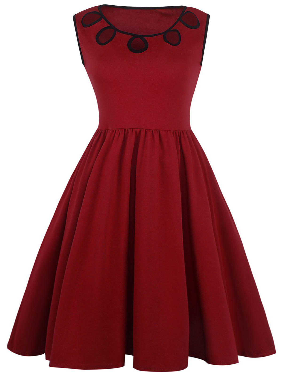 Cut Out Sleeveless A Line Dress - RED L