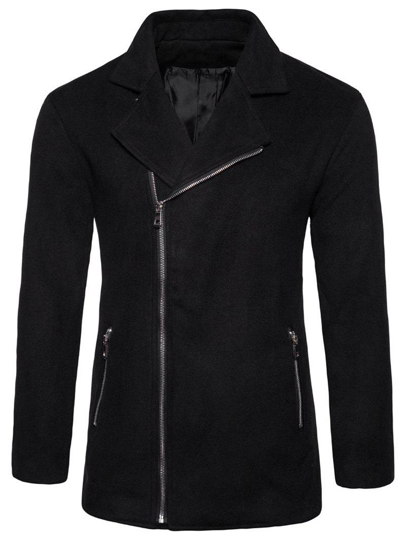 Turndown Collar Woolen Zip Up Jacket - BLACK M
