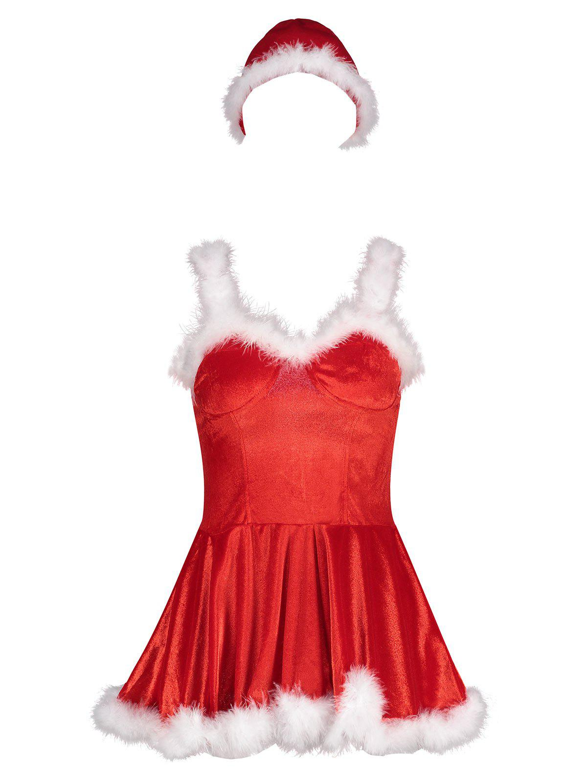 Velvet Christmas Feather Trim Costume Dress - RED S