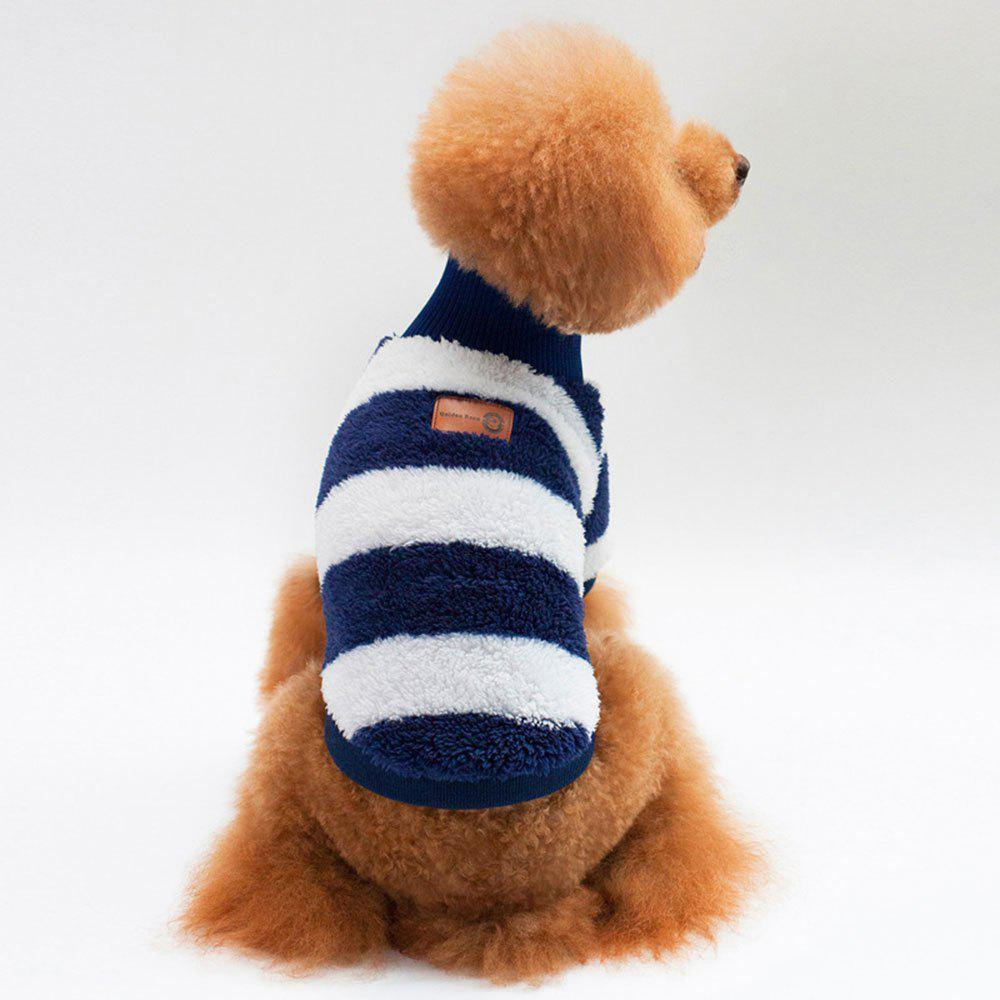 Striped Turtleneck Coral Fleece Clothes for Dog - ROYAL S