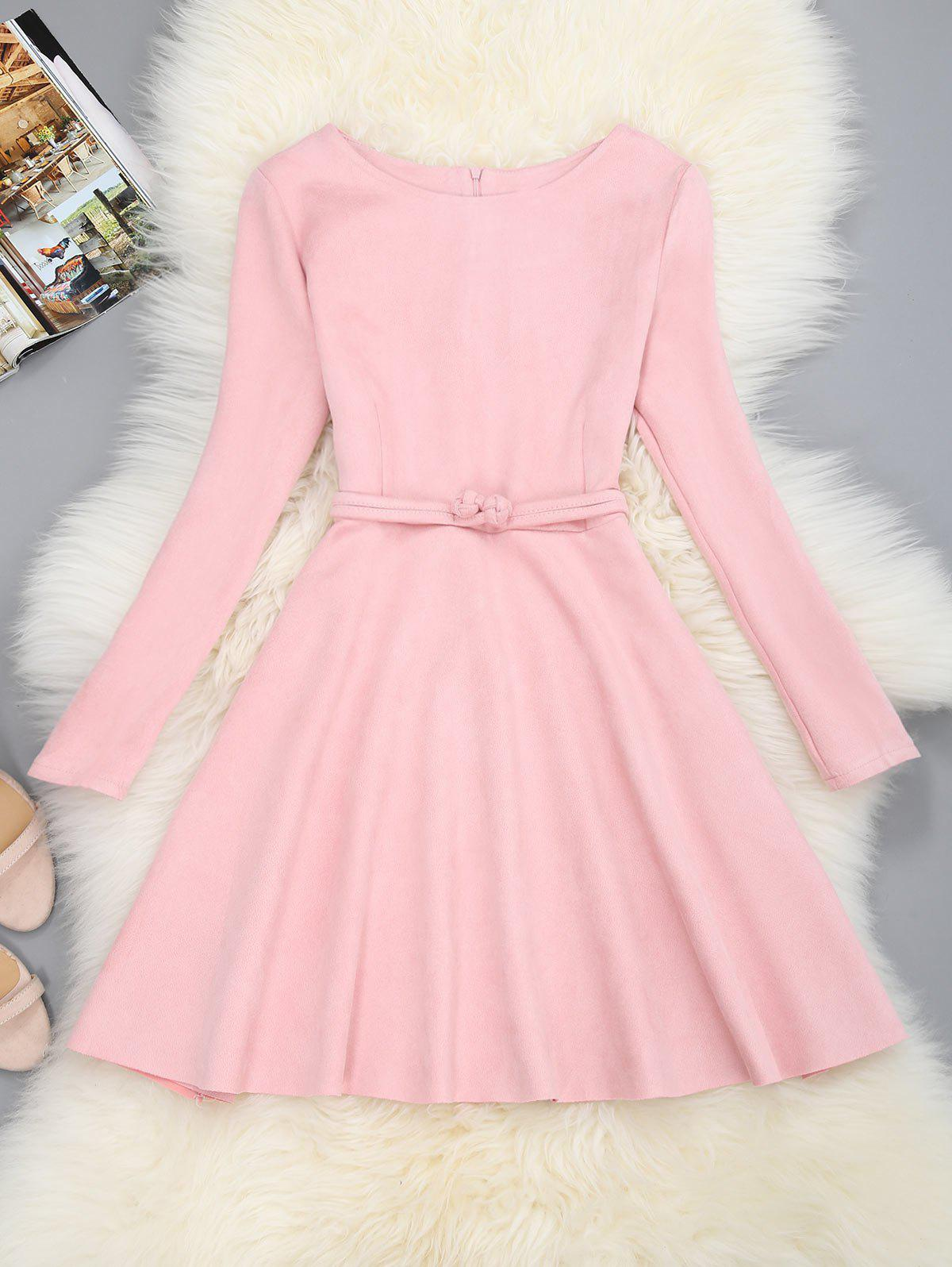 Mini Long Sleeve Fit and Flare Dress - PINK M