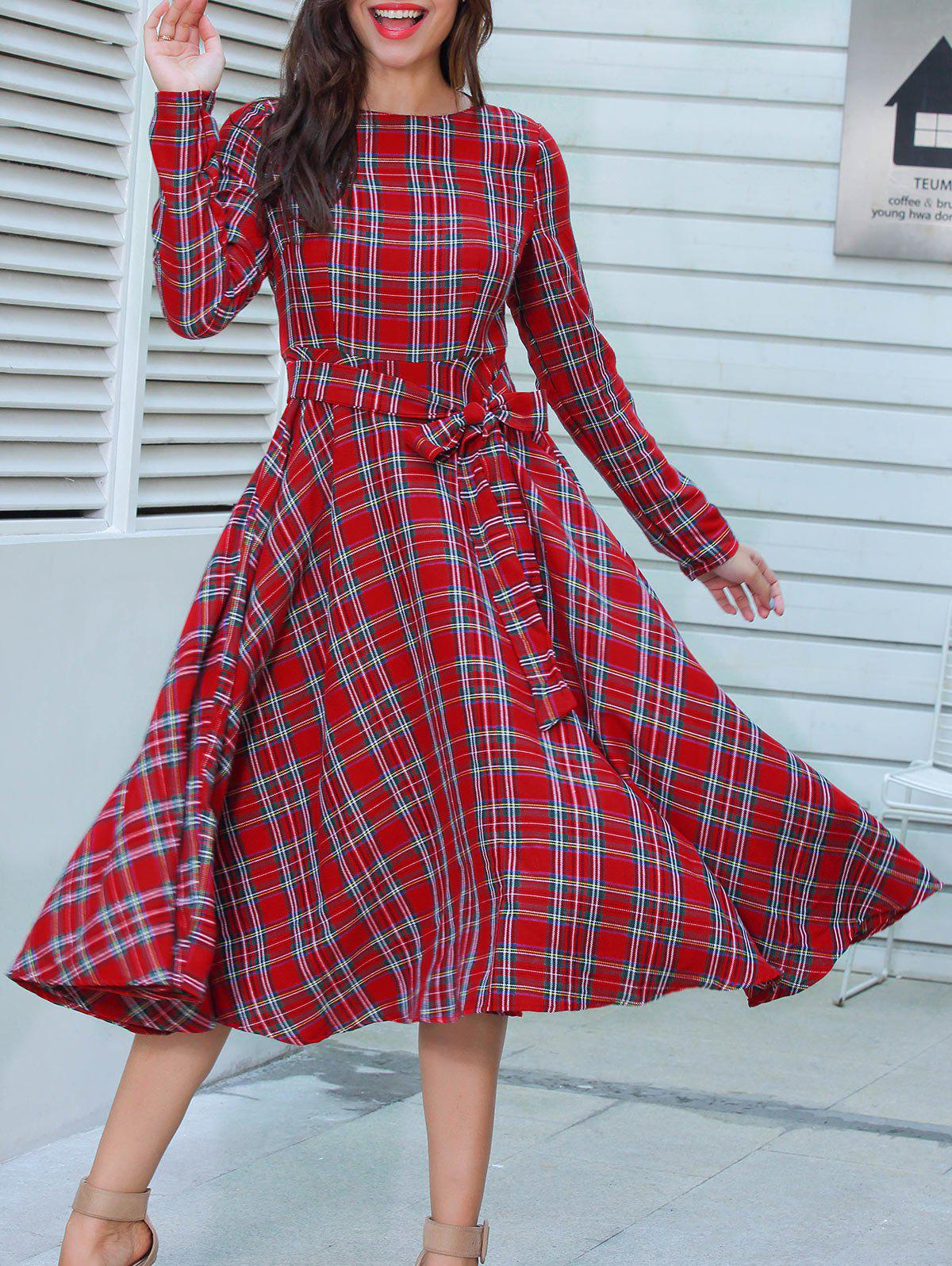 Plaid Long Sleeve Belted Midi Dress рюкзак polar polar po001buawne5