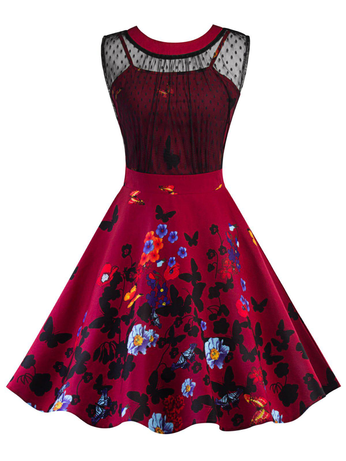 Vintage Mesh Insert Floral Print Pin Up Dress - RED 2XL