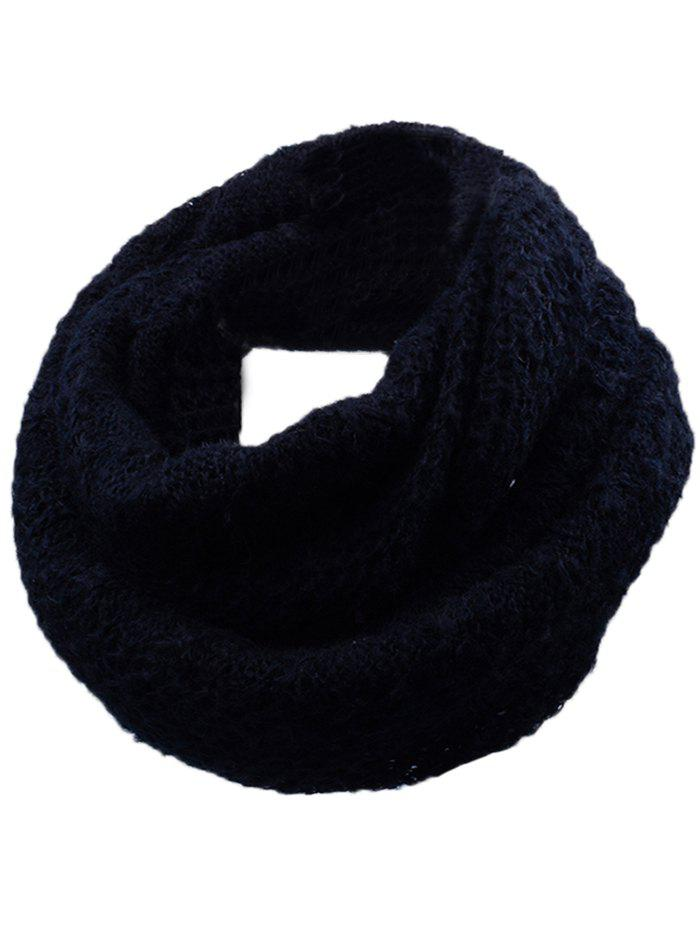 Soft Rhombus Pattern Crochet Knitted Scarf - BLACK