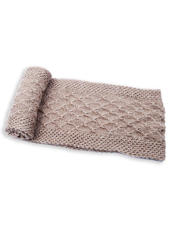 Soft Rhombus Pattern Crochet Knitted Scarf - BROWN