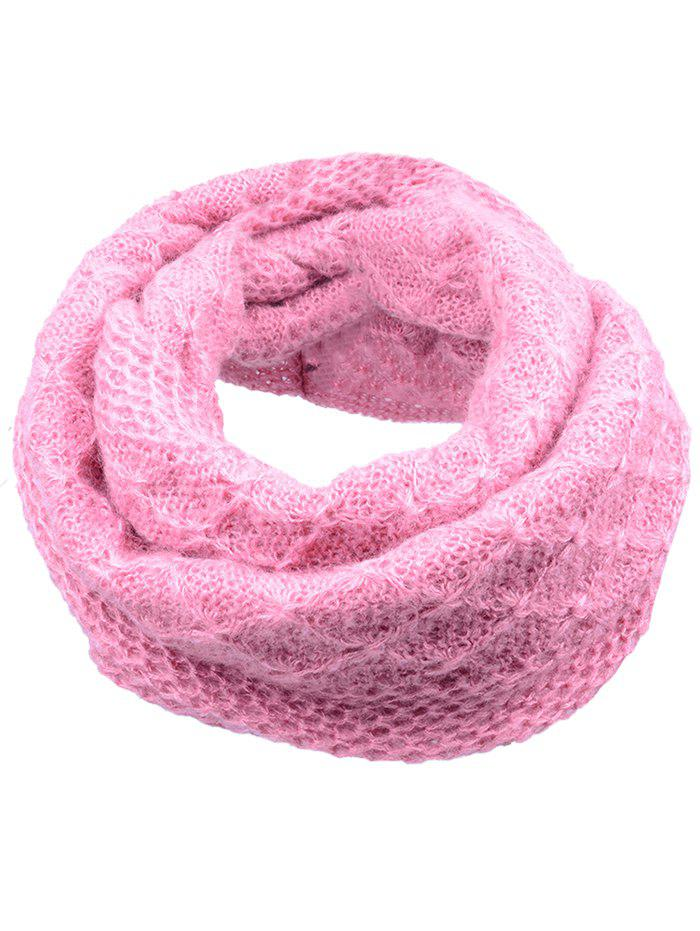 Soft Rhombus Pattern Crochet Knitted Scarf - LIGHT PINK