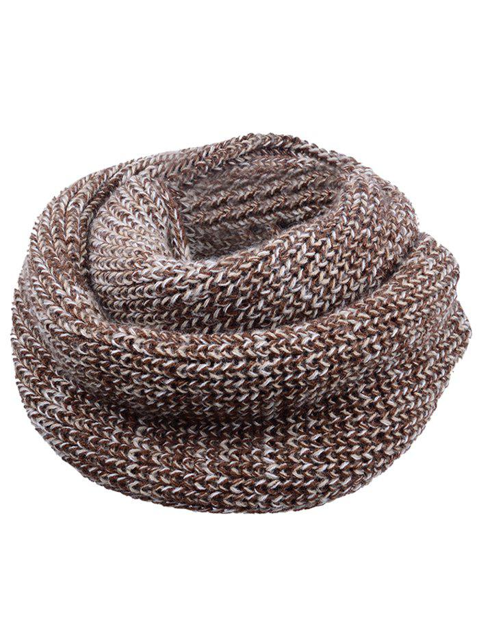 Vintage Color Splice Crochet Knitted Warm Scarf - COFFEE