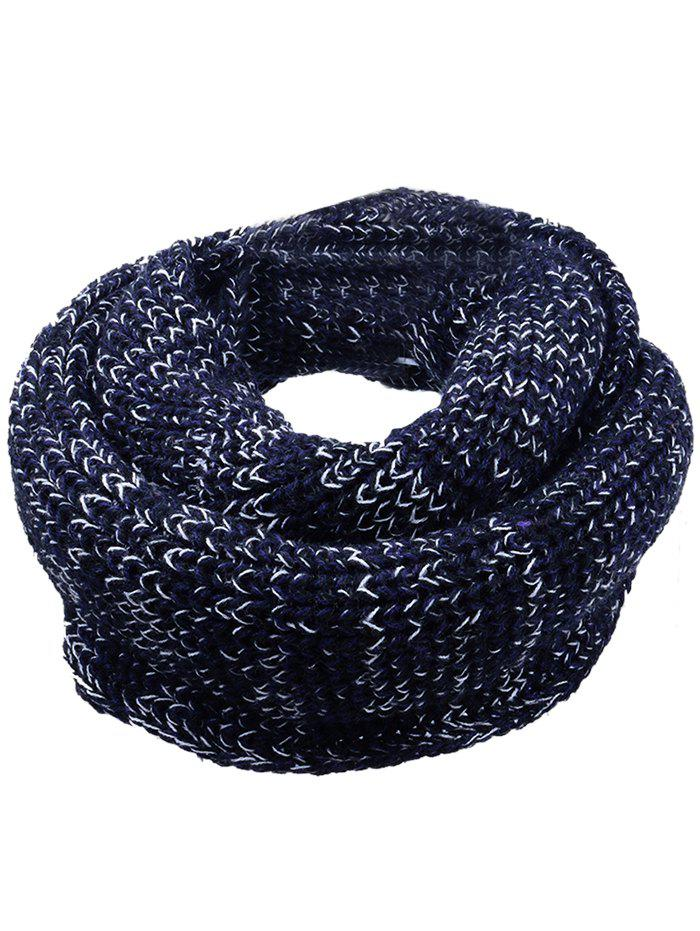 Vintage Color Splice Crochet Knitted Warm Scarf - BLACK