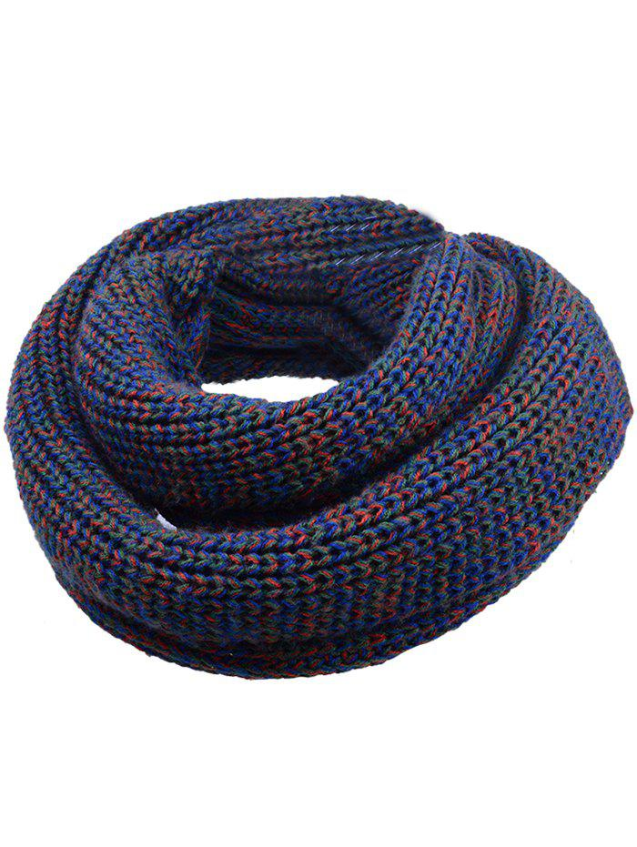 Vintage Color Splice Crochet Knitted Warm Scarf - CADETBLUE/GRAY/WHITE