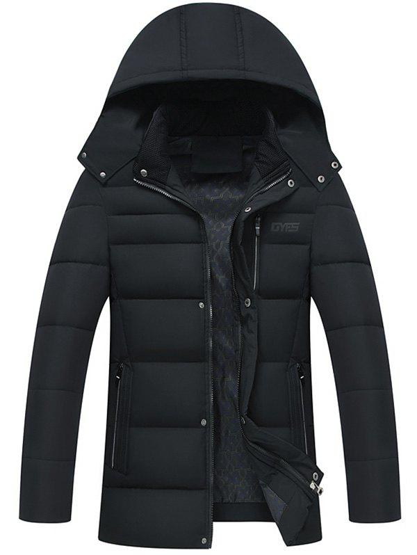 Detachable Hood Full Zip Padded Coat - BLACK XL