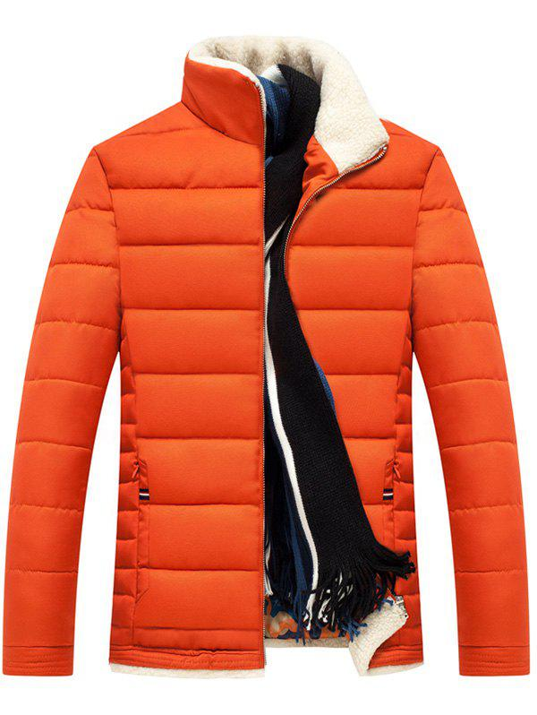 Zipper Up Stand Collar Quilted Jacket - ORANGE XL