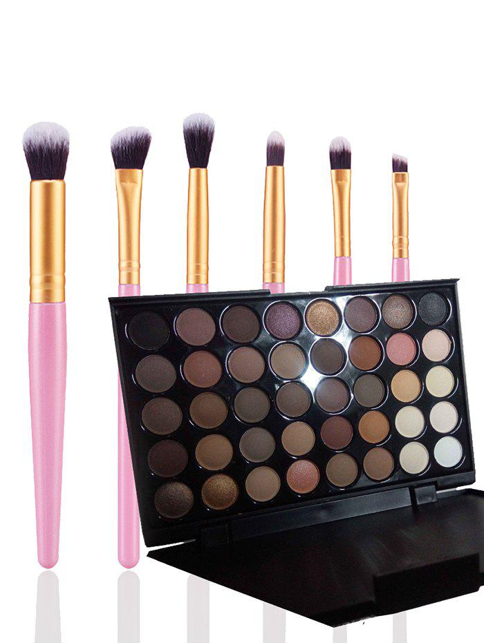40 Colors Eyeshadow Palette with 6 Pcs Eye Makeup Brushes Set 177 full colors professional eyeshadow palette makeup tool set matte shimmer eye shadow beauty cosmetic pigmented with brushes