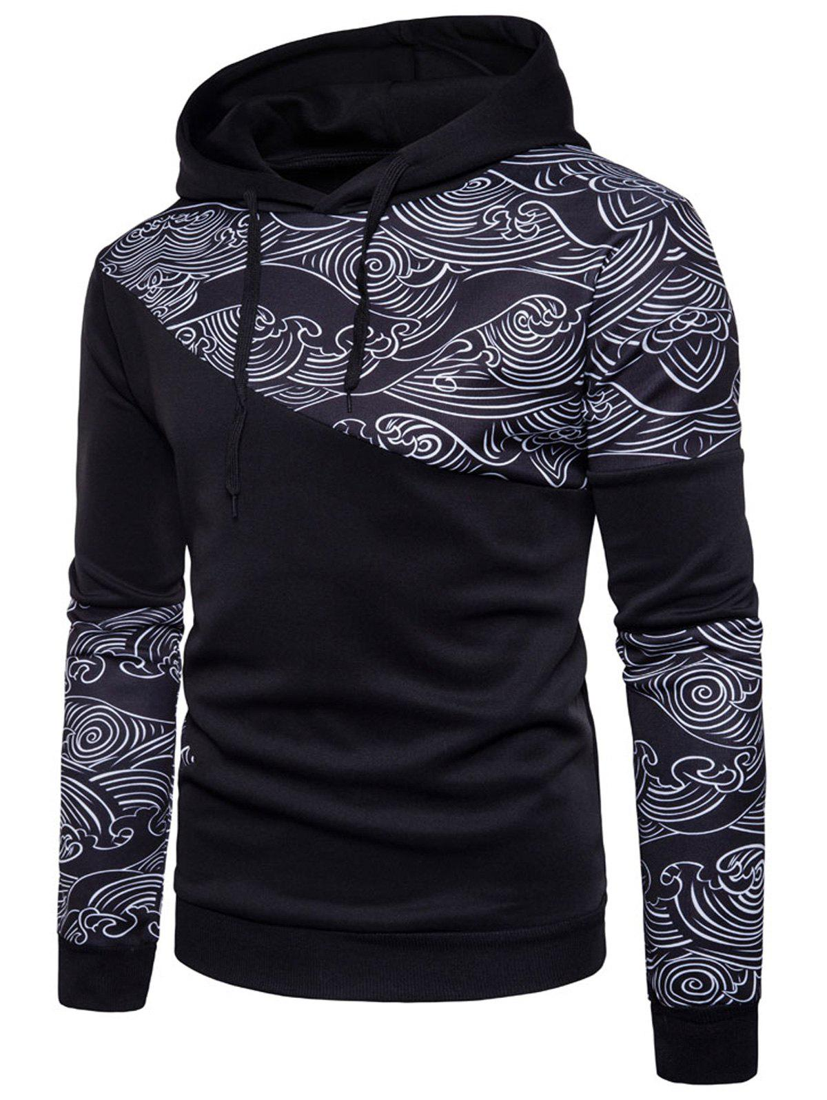 Wave Print Panel Pullover Hoodie - BLACK L