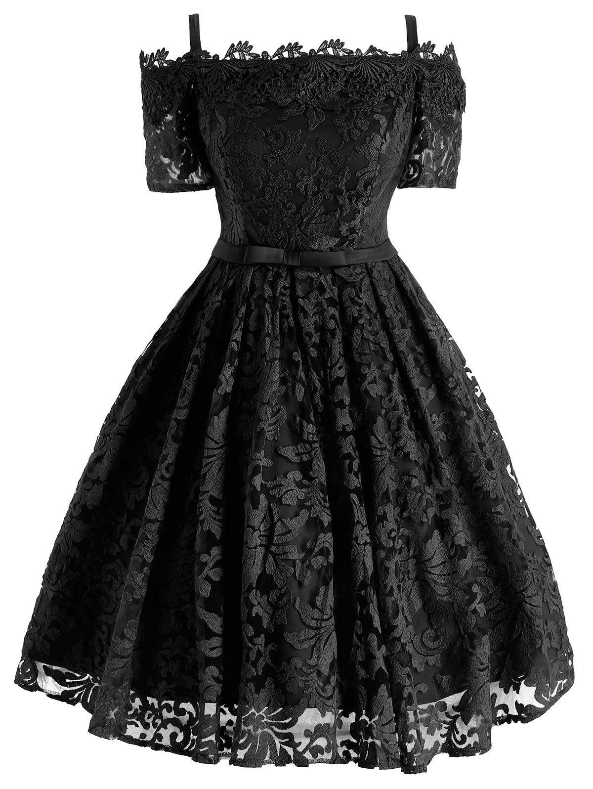 Floral Lace Cold Shoulder Bowknot Formal Dress - BLACK L