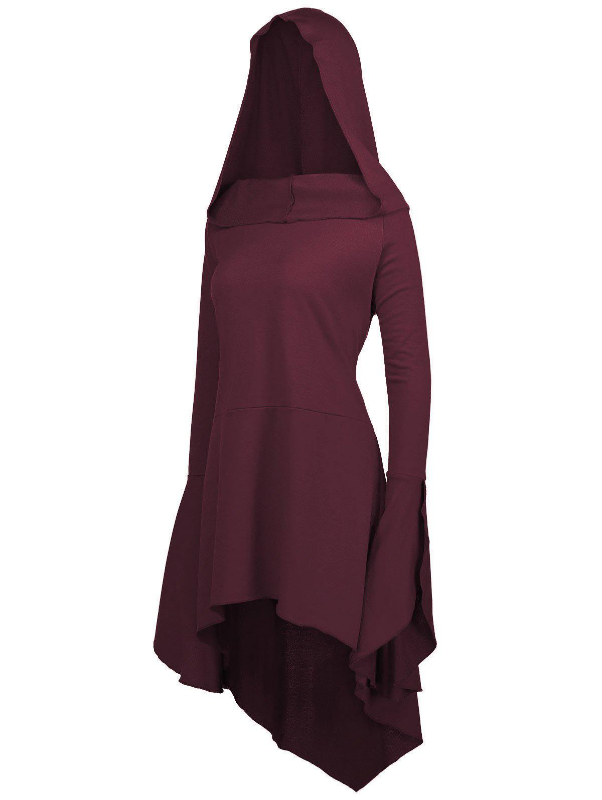 Long Flare Sleeve Plus Size High Low Hoodie - BORDEAUX 4XL