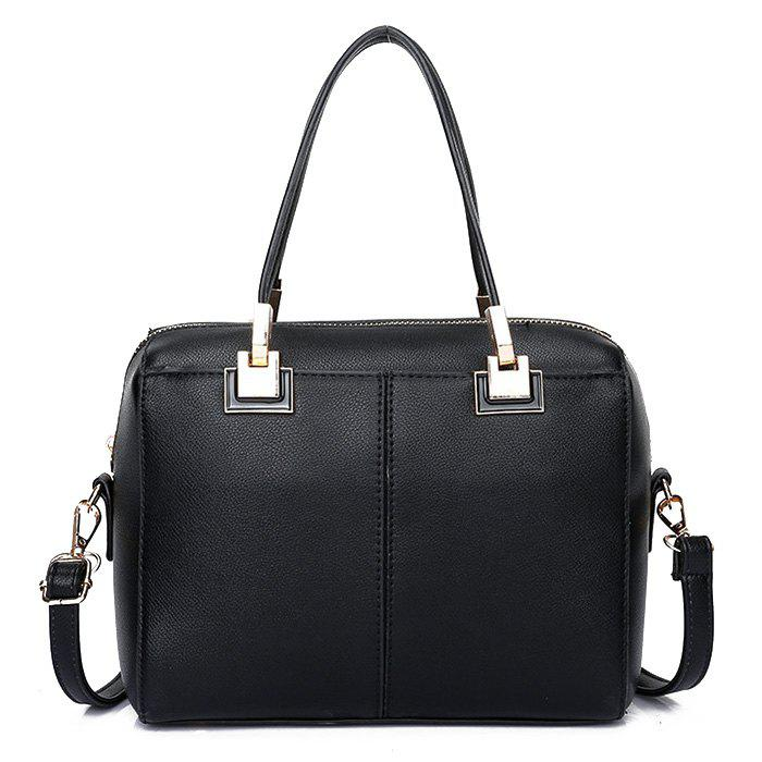 Metal Detailed Crossbody Bag With Handle - BLACK