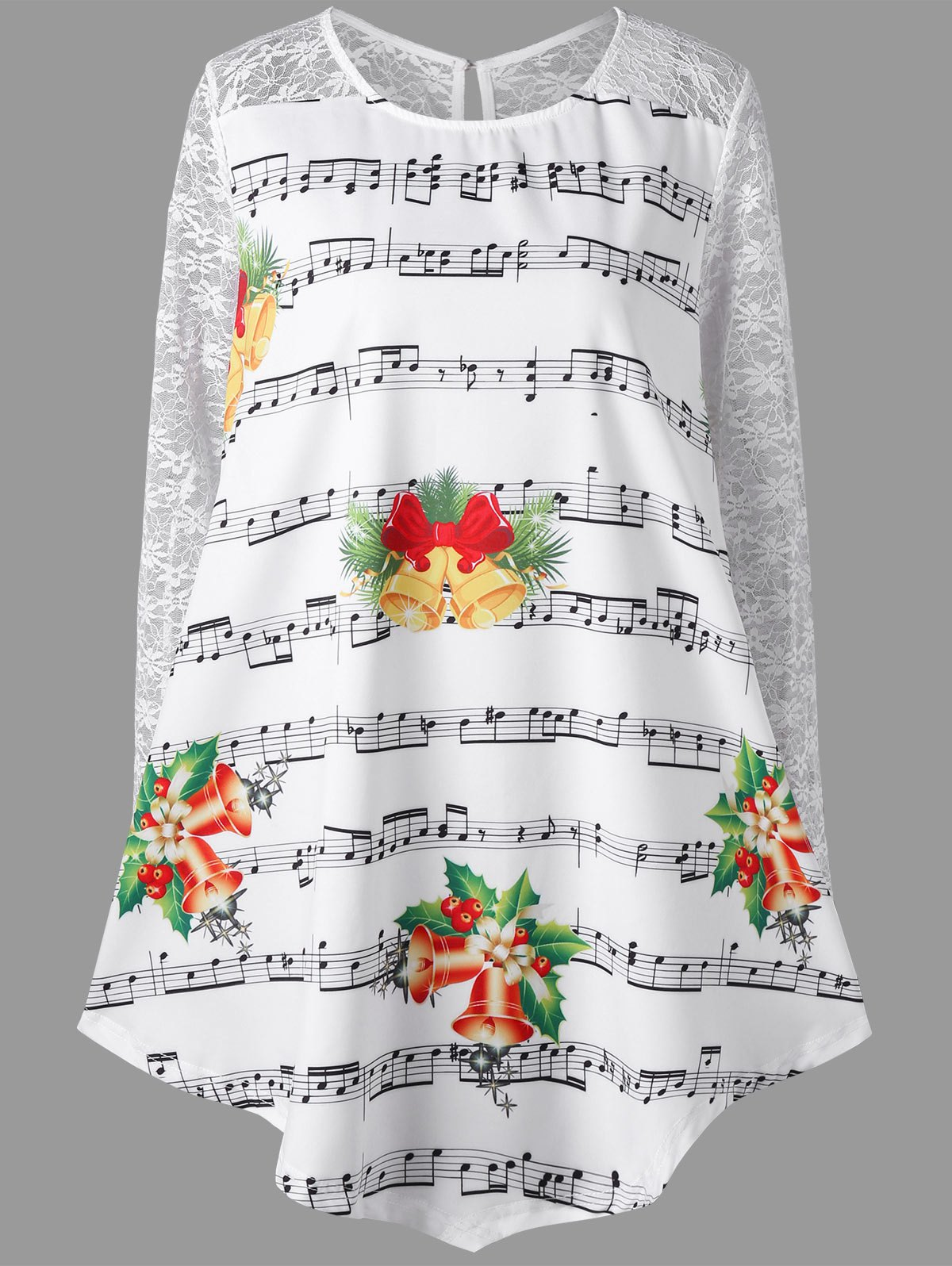 Christmas Plus Size Music Note Print Lace Insert Blouse lace insert plus size blouse
