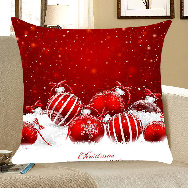 Christmas Snow Balls Pattern Square Throw Pillow Case - RED/WHITE W18 INCH * L18 INCH