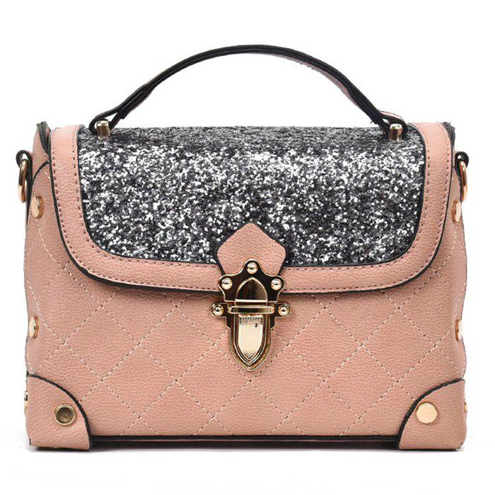 Rivets Sequined Quilted Crossbody Bag - PINK