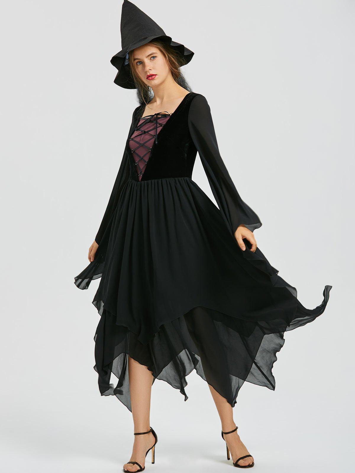 Lace-up Flare Sleeve Chiffon Asymmetric Dress - BLACK M