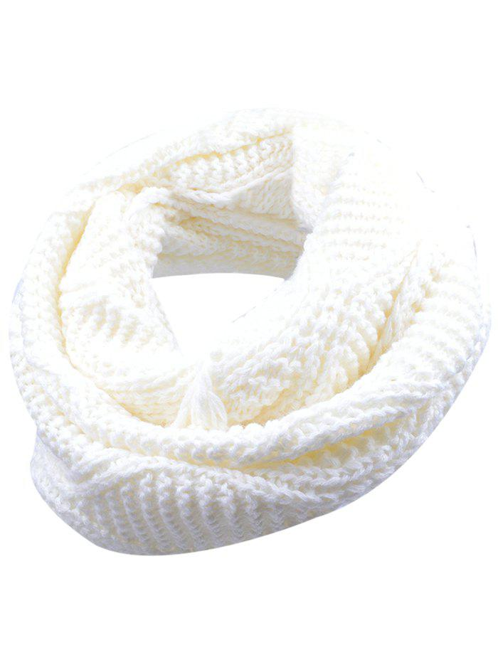 Outdoor Thick Ribbed Knit Winter Scarf - WHITE