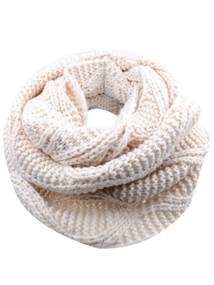 Outdoor Thick Ribbed Knit Winter Scarf - BEIGE