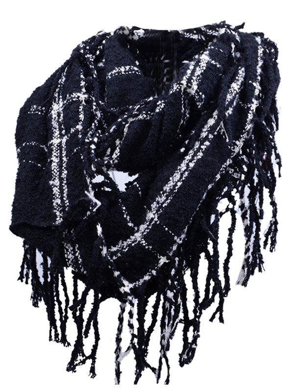 Soft Fringed Edge Embellished Artificial Cashmere Scarf - BLACK