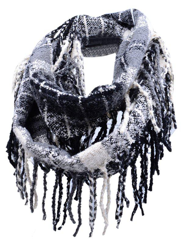 Soft Fringed Edge Embellished Artificial Cashmere Scarf - BLACK STRIPE