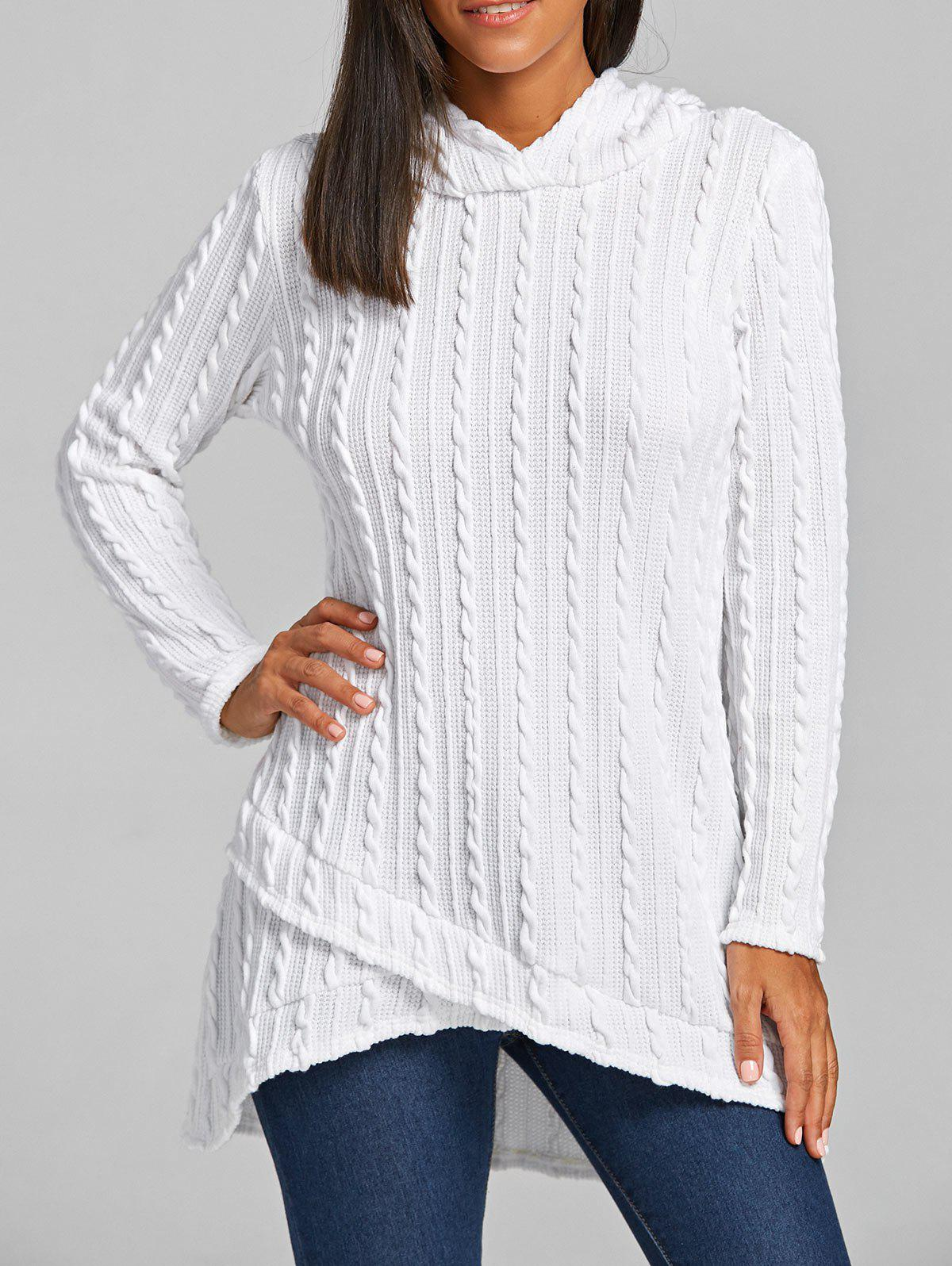 2018 Hooded Cable Knitted Tunic Sweater WHITE M In Sweaters ...