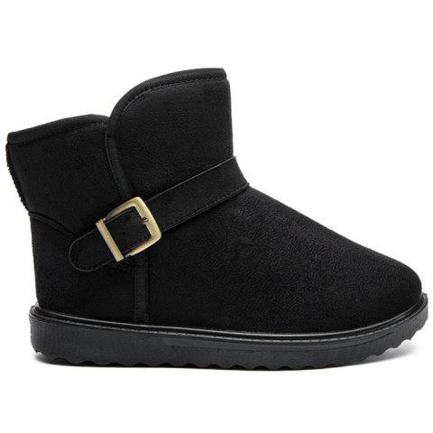 Lovers Unisex Buckled Snow Boots - BLACK 40
