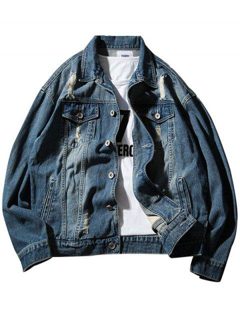 Chest Pocket Button Up Destroyed Denim Jacket - DEEP BLUE M