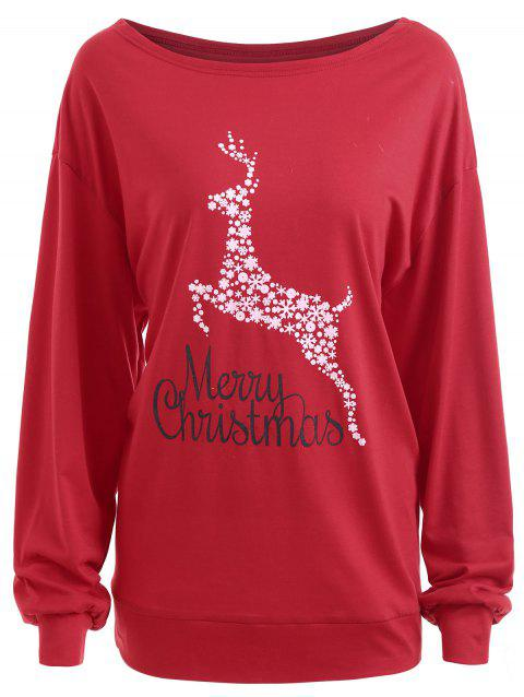 Plus Size Merry Christmas Floral Deer Graphic T-shirt - RED 3XL