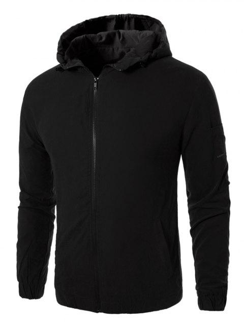 Graphic Embroidered Zip Up Jacket - BLACK 3XL