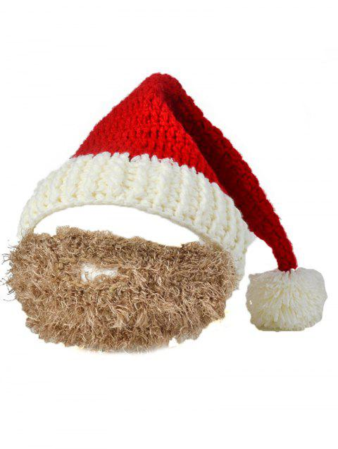 Funny Christmas Crochet Santa Beanie Hat with Beard - CAMEL