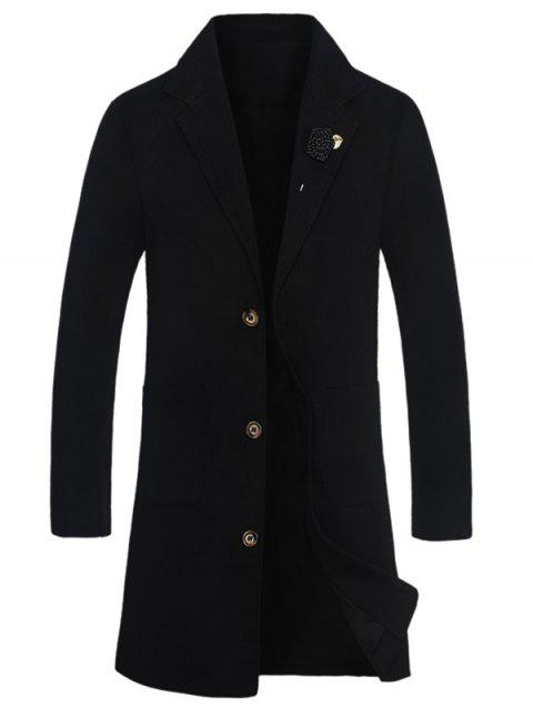Rose Embellished Notch Lapel Wool Blend Coat - BLACK XL