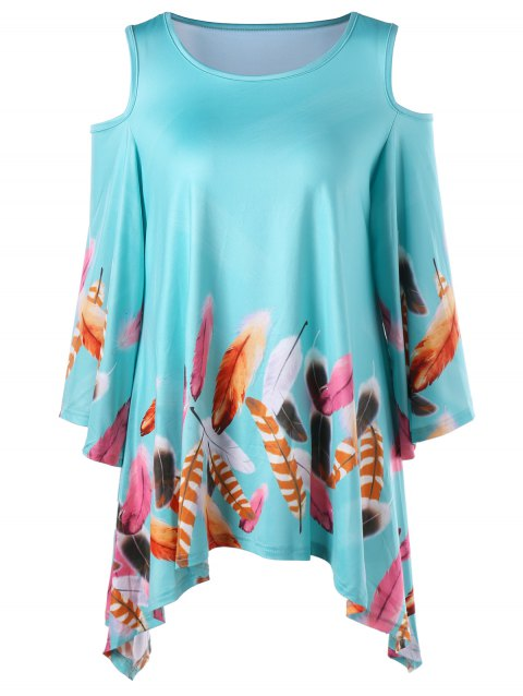 b2f166f411 41% OFF] 2019 Feather Print Cold Shoulder Tunic Top In BLUE GREEN XL ...