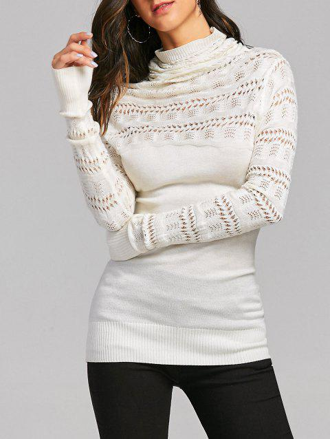 Cowl Neck Open Knitted Sweater - OFF WHITE ONE SIZE