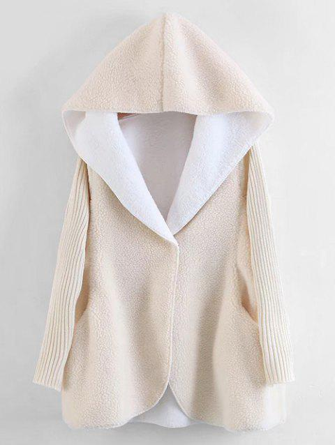 Ribbed Sleeve Faux Lamb Wool Hooded Coat - OFF WHITE ONE SIZE