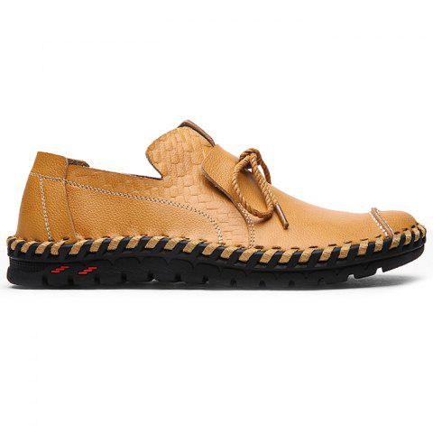 Moccasin Toe Tie Front Artificial Leather Slip On Shoes - CITRUS 42