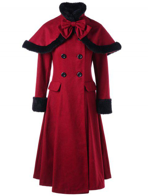 Manteau Rope Cape Lacé à Double Boutonnage - Rouge vineux L